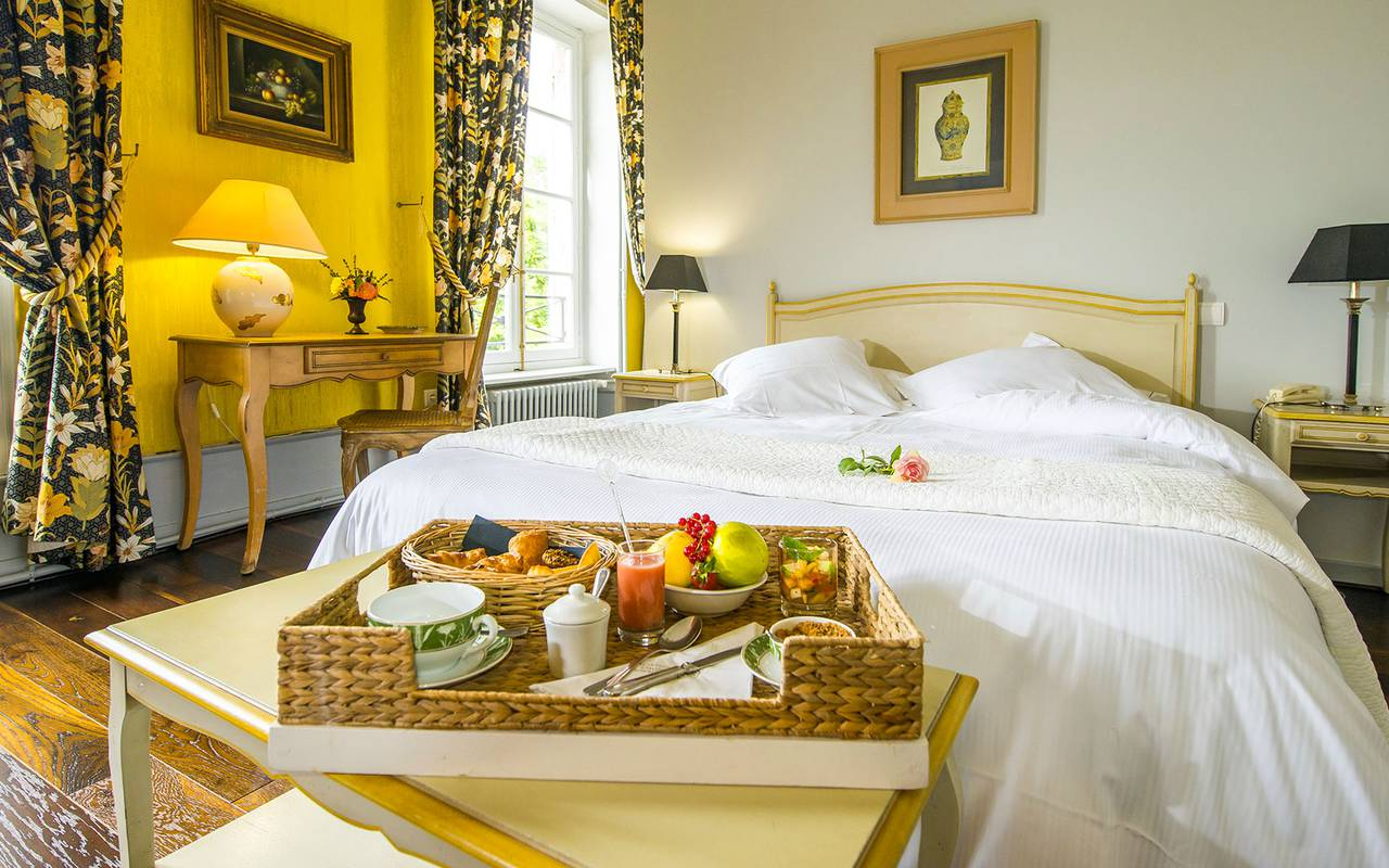 Chic room with gourmet breakfast served in room, legal notice, Château d'Ygrande