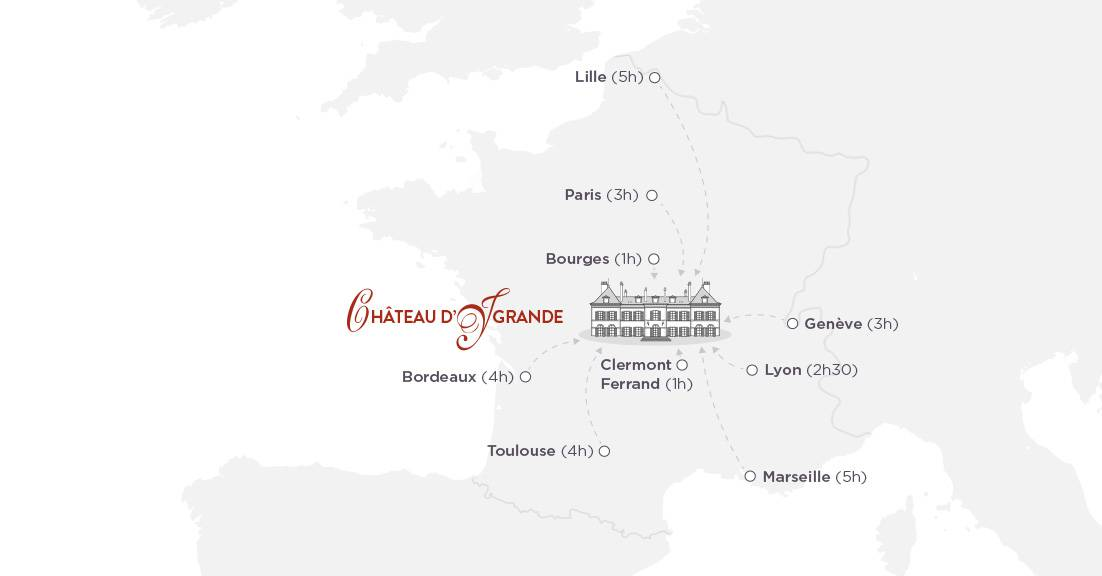 Carte, hôtel de charme auvergne, Château d'Ygrande