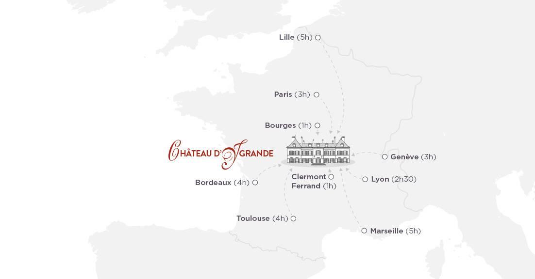 Map, boutique hotel auvergne, Château d'Ygrande