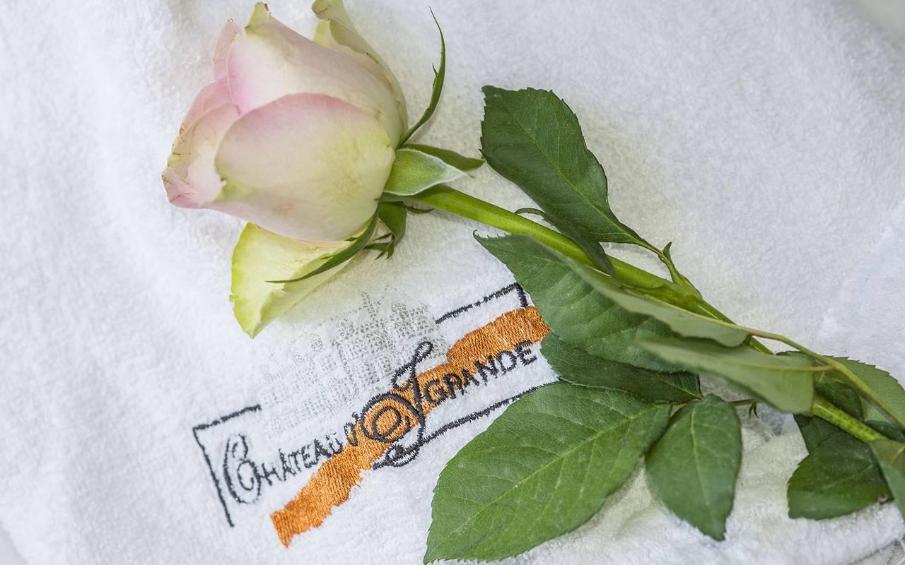 Rose et serviette, spa bien être piscine hammam, Château d'Ygrande.