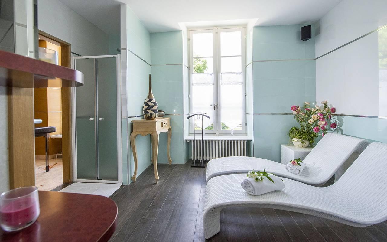 Espace détente, spa bien être piscine hammam, Château d'Ygrande.