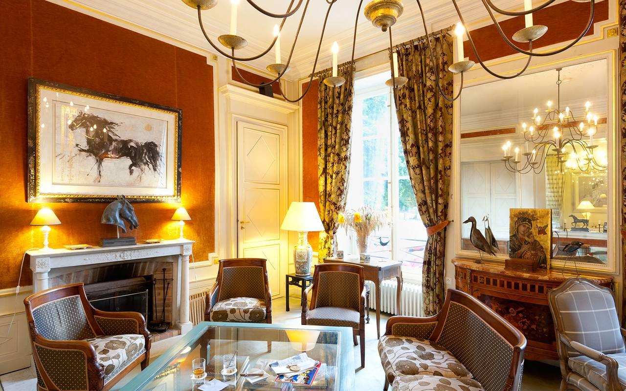 salon de détente dans l'hôtel, hotel luxe auvergne, Château d'Ygrande.
